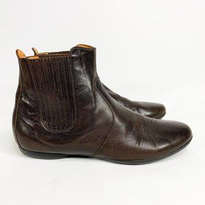HERMES Flat Brown Leather Chelsea Boots